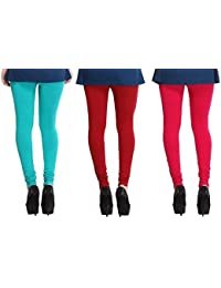 Leggings Free Size Cotton Lycra Churidar Leggings Pack Of 3 LightBlue , Mehroon & Majenda By SMEXY