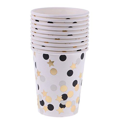 Sharplace 10pcs Tasse Jetable Gebelet Carton Motif à Pois Rond Etoile Vaisselle Accessoire pour Fête Soirée - Or noir
