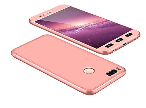 Funda Xiaomi Mi A1/Mi 5 X 360 Grados Oro Rosa Ultra Delgado Todo Incluido Caja del teléfono de la Protección 3 en 1 PC Case JOYTAG-Oro Rosa