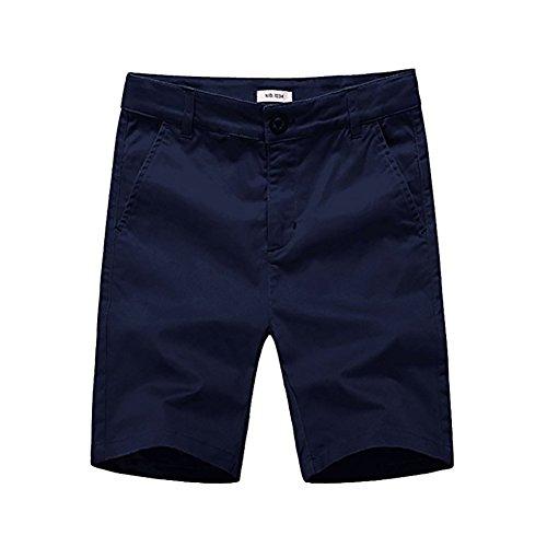 basadina Jungen Einfarbig Shorts Schuluniform Shorts Ausgestattet mit Einstellbare Taille Elastisch, 4-12 Jahre Alt (4 Farben Zu Wählen) (Dunkelblau, 10Jahre) (Herren-elastische Taille Shorts)
