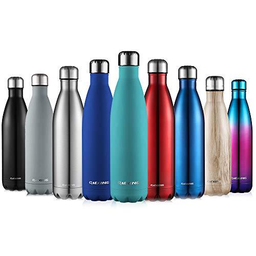 cmxing bottiglia acqua, 500ml/ 750ml doppia parete acciaio inox sottovuoto coibentato bottiglia termica, sport borracce thermos (sky blue, 750ml)