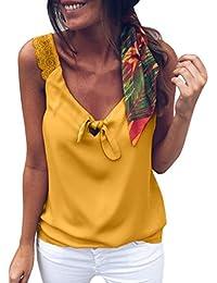 URIBIKY® ❤ Casual Chaleco de Arco de Encaje de Color Sólido de Las Mujeres