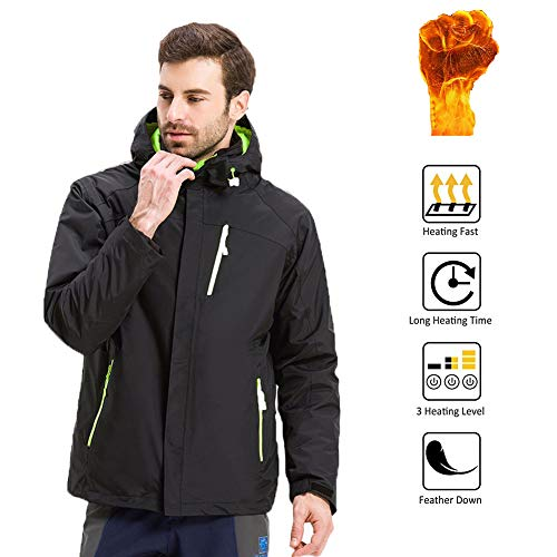 OUTANY Herrenjacke, Schwarz, Männliche Neuheiten Hoodies, 5V,USB,Mens Aktivbekleidung, mit Hood Waterproof Wind Resistant und Anti-Fouling (Power Bank Nicht enthalten),XXL
