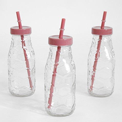 (568) 3er Set Trinkflaschen im Wabenmuster mit Strohhalm 300ml farbiger Deckel ((568) Rot)