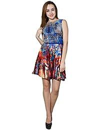 Panit Blue & Multi Printed Crepe & Gorgette Dress