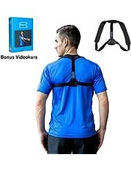 PHYSIAID Haltungstrainer - Geradehalter zur Haltungskorrektur für eine gesunde aufrechte Körperhaltung + Bonus VIDEOKURS