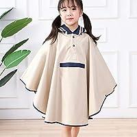 TTCI-RR Raincoats Nylon Child Raincoat For Cute Waterproof Cloak Children Hooded Raincoat Girl And Boy Poncho Rainwear Kids Windproof Rain Gear@White_M