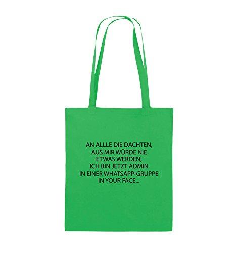 Comedy Bags - ADMIN WHATSAPP GRUPPE - Jutebeutel - lange Henkel - 38x42cm - Farbe: Schwarz / Silber Grün / Schwarz
