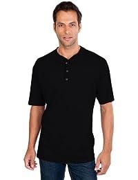 QUALITYSHIRTS Kurzarm Serafino T-Shirt mit Knopfleiste Gr. S - 8XL Baumwolle