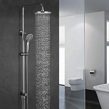 AQUABTOS Duschsystem mit Thermostat Regendusche Duschset Duschs/äule Dusche Duscharmatur Brausethermostat Shower inkl Verstellbar Duschstange Kopfbrause Handbrause