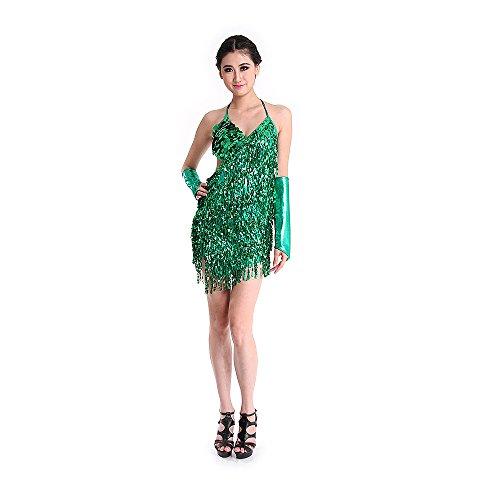 SymbolLife lateinamerikanische Tänze Tanzkostüme Damen Tanz Kleidung Hochzeitkleid Tanzkleid Partykleid Darbietungen Tanzkostüme für Karneval Halloween Kleid + Handschuh (Halloween Kleider Tanz)
