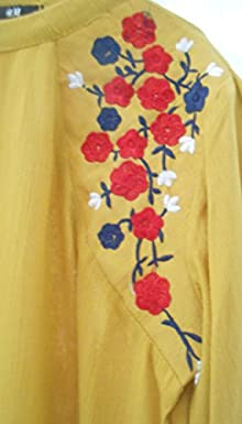 5ee99778324b9 Triumphin Mustard Women Short Tunic Kurti For Jeans Embroidered Cotton Top  For Daily wear Stylish Casual