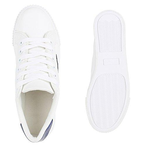 Sneakers Low Damen Lack & Glitzer Turnschuhe Freizeit Schuhe Weiss Blau