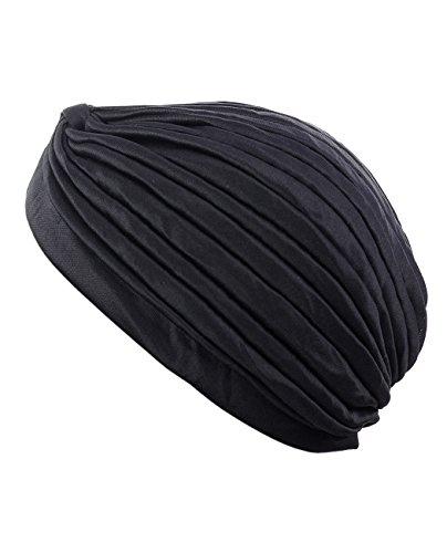 Classique turban pour femme. Confortable à porter il est idéal pour la perte de cheveux. MK5016 Noir