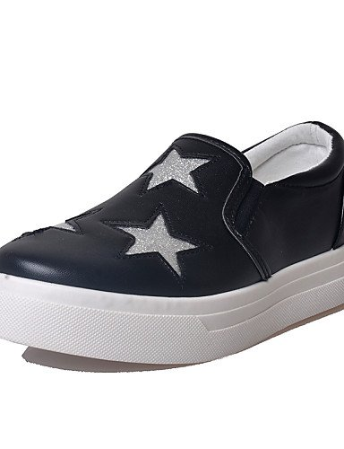 ZQ gyht Scarpe Donna - Mocassini - Tempo libero / Casual - Punta arrotondata - Basso - Finta pelle - Nero / Bianco , black-us5.5 / eu36 / uk3.5 / cn35 , black-us5.5 / eu36 / uk3.5 / cn35 white-us6 / eu36 / uk4 / cn36
