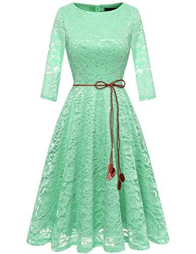 bridesmay Damen Spitzenkleid 3/4 Ärmel Prinzessin Blumen Abendkleid Brautjungfernkleider Mint L