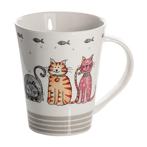 SPOTTED DOG GIFT COMPANY Tasse Becher Kaffeebecher Mug Groß 365ml Weiß mit Tolle Katzen Tier-Motiv Design, Qualität Porzellan Spülmaschinenfest, Süß Katze Geschenk für Katzenliebhaber -