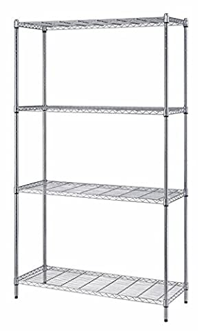 Quantum Storage Systems RWR72-2430LD 4-Tier Wire Shelving Unit, Chrome Finish, 300 lb. Per Shelf Capacity, 72
