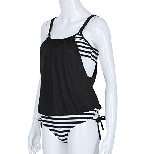 Ularma Damen Tankinis Streifen Rückenfreie Bandeau Badeanzug Polyester Two-Piece Swimming Suit Schwarz