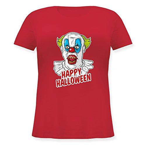(Halloween - Happy Halloween - Clown - L (48) - Rot - JHK601 - Lockeres Damen-Shirt in großen Größen mit Rundhalsausschnitt)