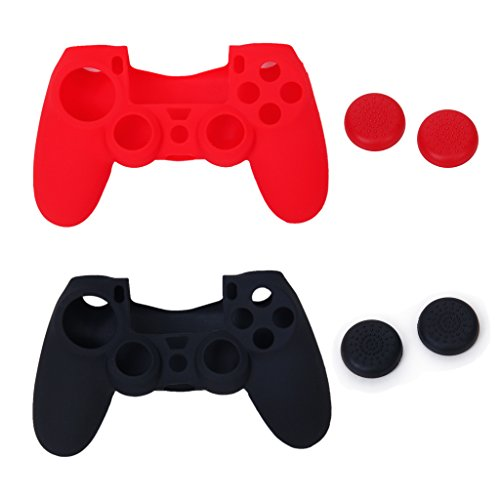 2 pcs Silicone case and 2 pairs Thumbstick Cap for PlayStation 4 PS4 Controller (Black and Red) [Importación Inglesa] 41QbemNbfbL