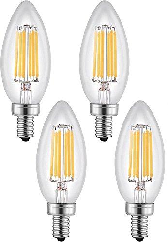 (4Stück) dimmbar LED Kronleuchter E12Kandelaber Leuchtmittel warm weiß 2700K, entspricht Gluehbirne Kerze Beleuchtung, Glas klar 600Lumen, Torpedo Form Bullet Top -