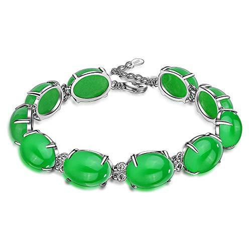 KALRTO Smaragd Malaiischen Jade Armband, S925 Sterling Silber Eingelegten Edelstein Armband, Ei Gesicht Ovale Weibliche Armband, Modischen Schmuck, Geschenk