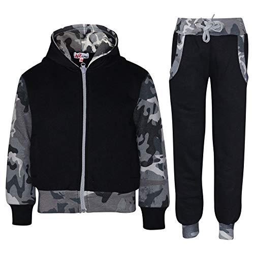 A2Z 4 Kids® Kinder Trainingsanzug Mädchen Jungen Designer Plain Kontrast - T.S Plain 101 Camo Charcoal 9-10