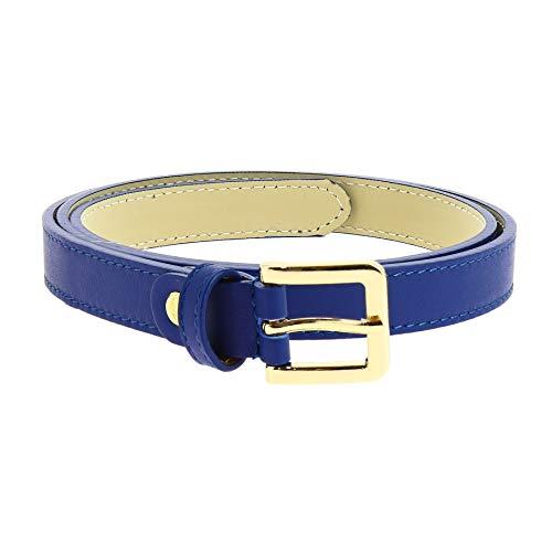 Fashiongen - 2 cm Gürtel echtes italienisches Leder für damen, LINDA - Blau, 80 / Hose 38 bis 42