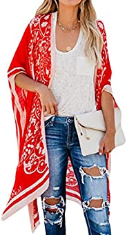 HTOOHTOOH Womens Cover up Beach Floral Print Summer Kimono Open Front Cardigan