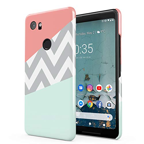 Mint and Coral Pink Chevron Blocks Dünne Rückschale aus Hartplastik für Google Pixel 2 XL Handy Hülle Schutzhülle Slim Fit Case Cover Hearts Hard Case, Snap