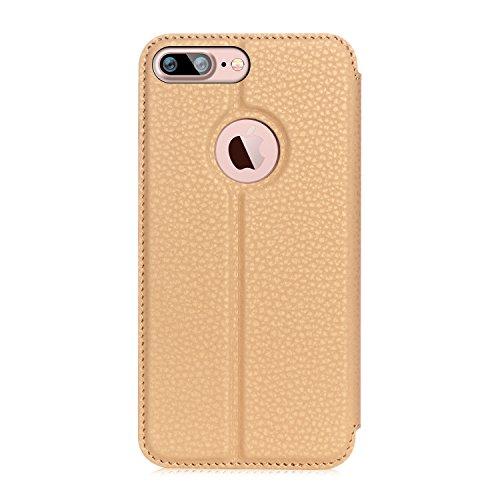 """iPhone 7 Plus (5.5"""") Etui Coque, SHANGRUN PU Cuir Housse Coque Fenêtre d'ouverture Case Flip Cas de Protection Portable Skin View Window Etui Cover pour iphone 7 Plus (5.5"""") Violet Doré"""
