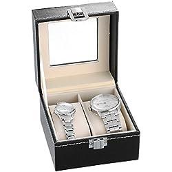 HooAMI Hochwertiger Uhrenkoffer Uhrenbox Uhrenkasten Schaukästen Lederetui Fuer 2 Uhren Schwarz mit Glasfenster