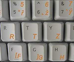 Tschechisch transparente Tastaturaufkleber mit Orange Buchstaben - Geeignet für jede Tastatur