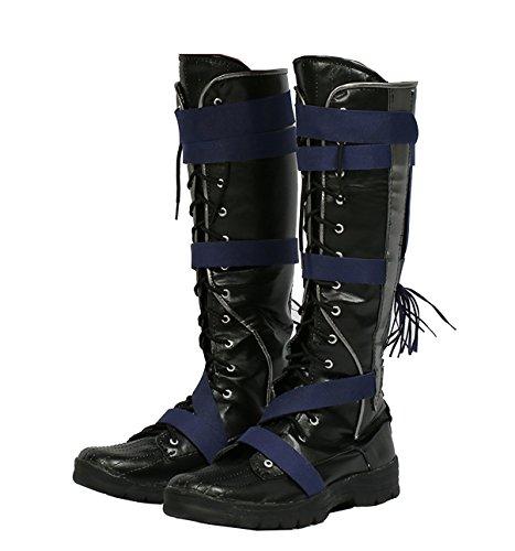 Herren Schwarz Knie Hoch Stiefel Boots Cosplay PU Schuhe Halloween Kostüm Verrücktes Kleid 45
