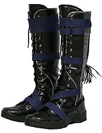 Homme Noir Bottes Cosplay Faux Cuir Chaussures Adulte Carnaval Halloween Costume Robe de Fantaisie