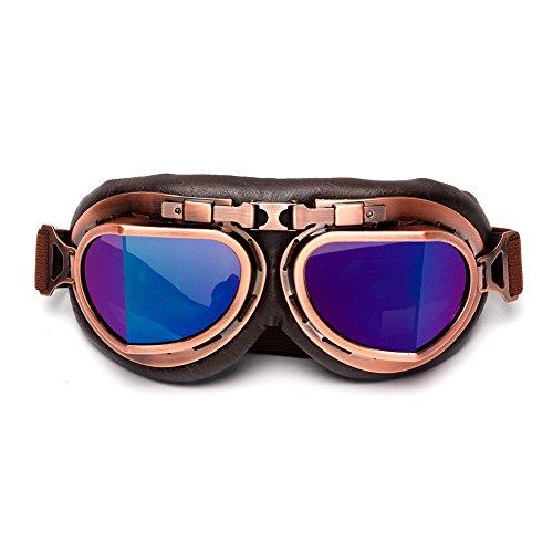 LEAGUE&CO Retrodesign Motorradbrille Pilotenbrille Schutzbrille Fliegerbrille Helm Brillen...