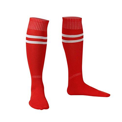 Jugend-rot-baseball-socken (1 Paar Herren Sport Lange Socken Unisex Knie Hoch Fußball Baseball Anti Rutschen Schützen Füße Atmungsaktiv Strümpfe)