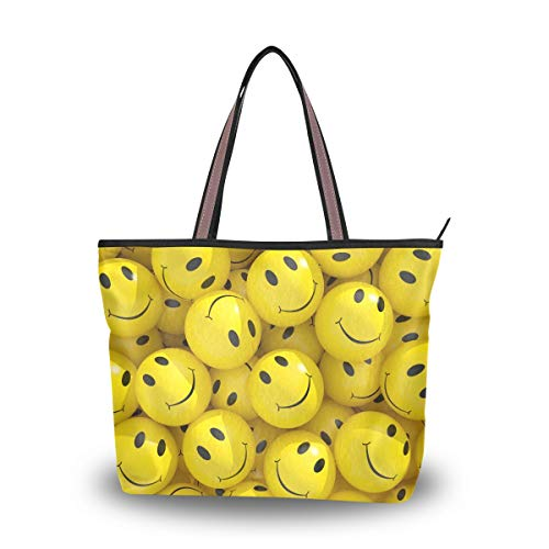 Emoya Damen Tote Schultertasche Smiley Emoticons Emoji Top Handle Satchel Handtasche Geldbörse Schultertasche Messenger Bag L, Mehrfarbig - multi - Größe: Medium -