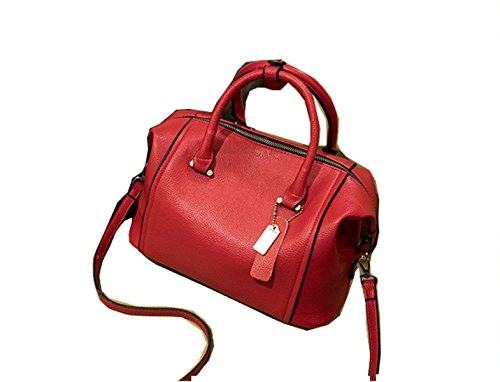 PACK Versione Coreana Lychee Pattern Borse In Pelle Boston Borsa Piccola Diagonale Retro Semplice Mini Spalla,Black(trumpet) Red(trumpet)