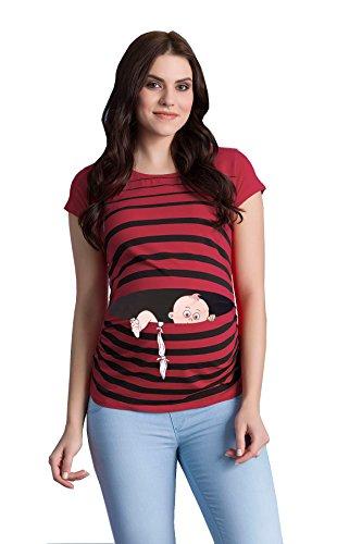 Baby Flucht - Lustige witzige süße Umstandsmode/Umstandsshirt mit Motiv für die Schwangerschaft/T-Shirt Schwangerschaftsshirt, Kurzarm (Weinrot, XL)