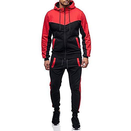 Makefortune Herren Zip Up Hoody Colourblock Hoodie Jumper Jacke Sweatshirt Overhead Hooded Top UK Größe