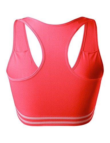 Match Damen Draht Nahtlose Gepolsterte Racerback Sport-BH fuer Yoga Workout Gym #006 Burnt Orange
