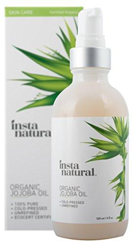 InstaNatural Aceite de Jojoba - 100% puro y certificado orgánico - Humectante prensado en frío y sin refinar - Para una piel suave, uñas fuertes, cabello hidratado y piel radiante – 120 ml