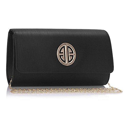 TrendStar Damen Kupplungs Taschen Damen Abend Abschlussball Partei Klappe Entwerfer Handtaschen Schwarz