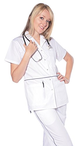 Women's Designer Pearl Button Up Uniform Scrubs White / - White Scrub-jacke