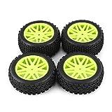 Universal 4 Stück 1/10 Leiter Off Road Buggy Reifen V-Loch Felgen Set vorne und hinten 12 mm Hex Naben mit Schaumstoffeinsätzen