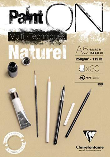 Clairefontaine 96539C Naturel PaintOn Block (250 g, DIN A5, 14,8 x 21 cm, geleimt, 30 Blätter, geeignet für Bleistift, Kreide oder PastellIdeal mit rauen Oberfläche und Sandton) naturbraun