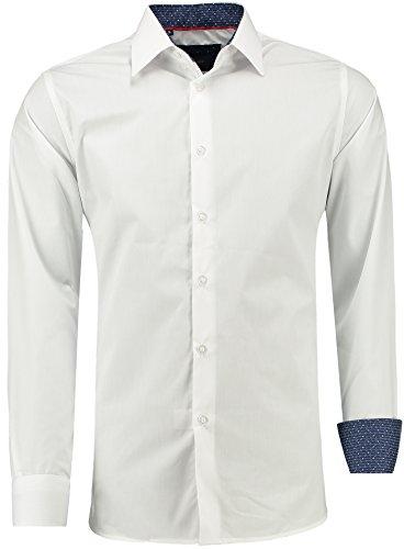 Barbons Herren Premium Business-Hemd Slim-Fit Männer Hemden für Freizeit, Business und Hochzeit - Super Modernes und Bügelleichtes Langarm Premium-Hemd Weiß L
