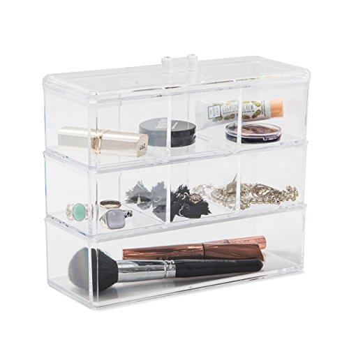 Organiseur en acrylique SO02882, large avec 7 compartiments transparents pour maquillage, bijoux, cosmétiques, 23 x 9 x 21 cm